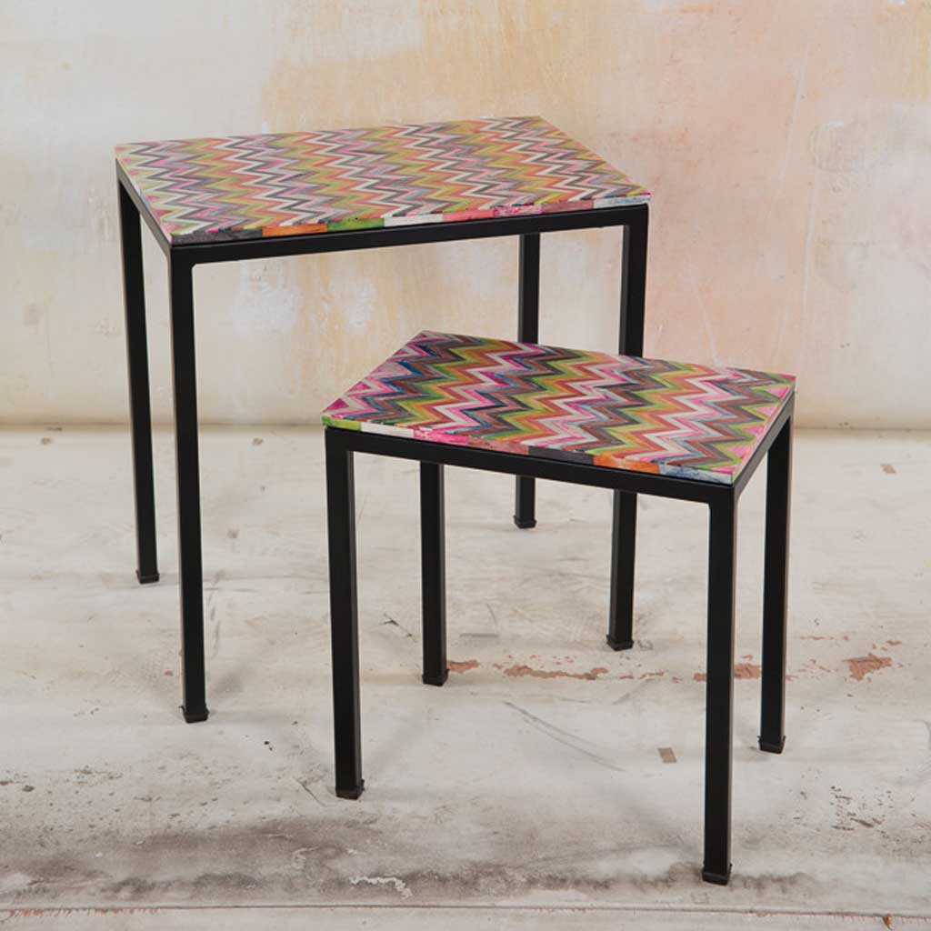 Furniture - Set of 2 Bone Inlay Side Tables - Hutsly