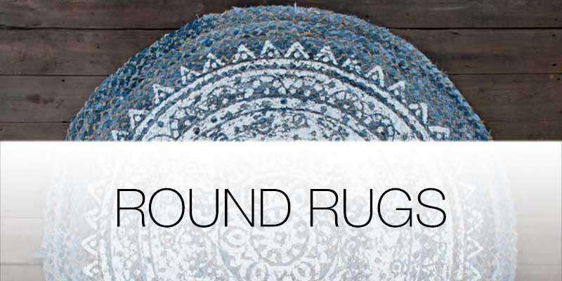 Round area rugs on Hutsly