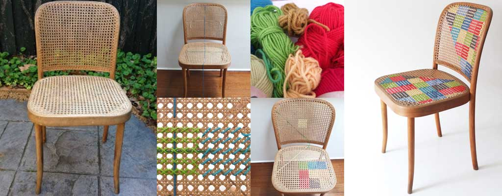 Hutsly DIY Project - Furniture Update : Cross Stitch Chair