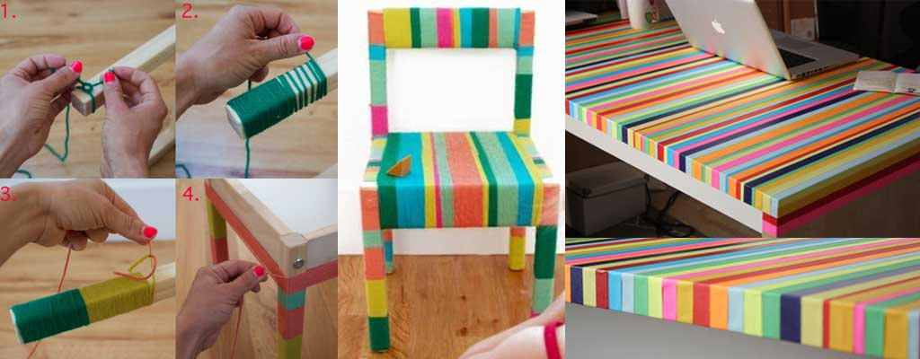 Hutsly DIY Project - Furniture Update Yarn and Tape
