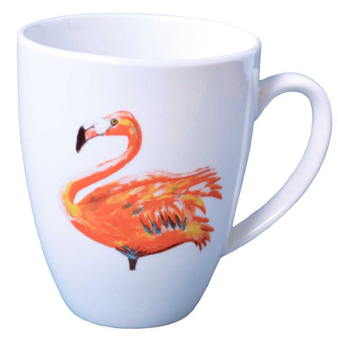 Set of 4 or 6 Flamingo Porcelain Mugs