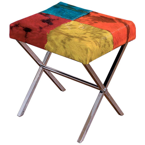 Colourful Cowhide Stool
