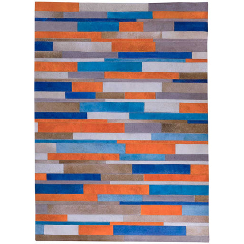 Warm Stripes Patchwork Cowhide Rug