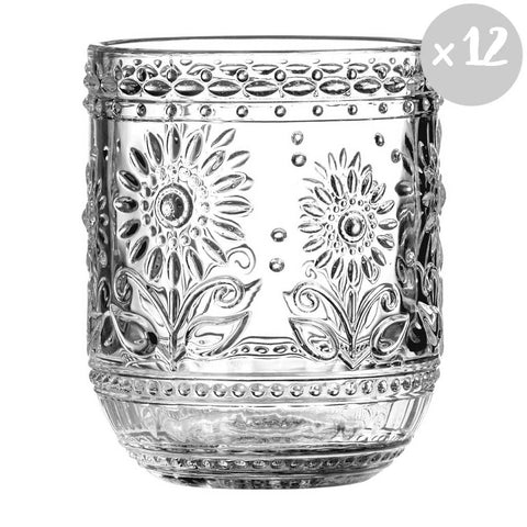 Set of 12 Daisy Glass Tumblers