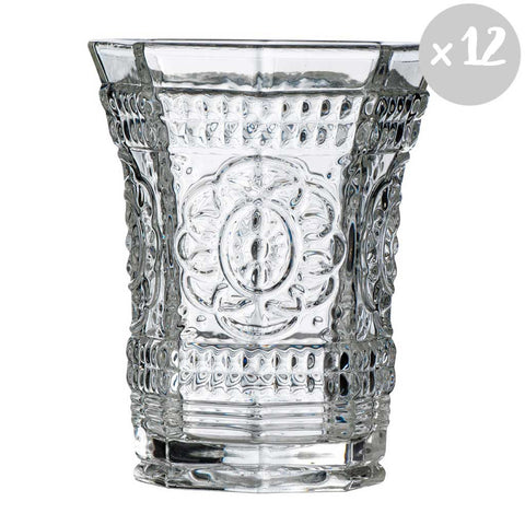 Set of 12 Clear Glass Baroque Tumblers