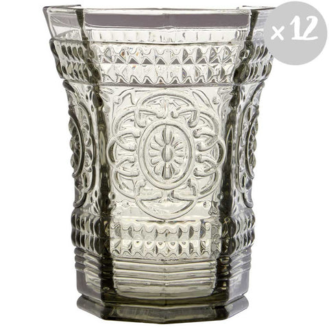 Shelley | Set of 12 Smoked Glass Baroque Tumblers
