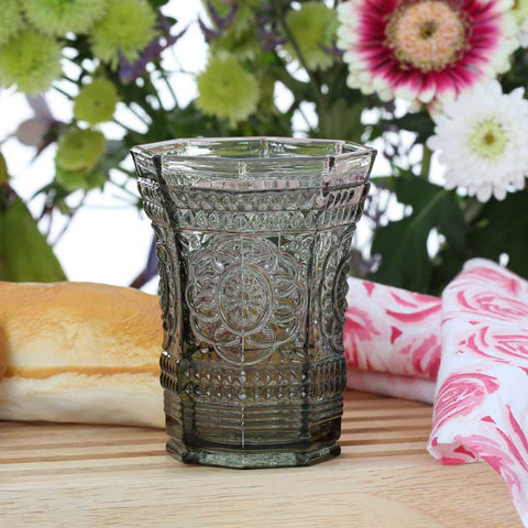 Set of 12 Smoked Glass Baroque Tumblers