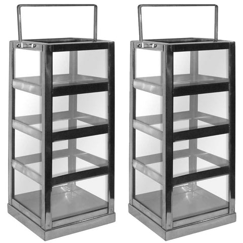 Set of 2 Glass and Stainless Steel Lanterns