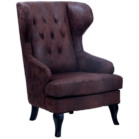 Waxed Leather Wingback Armchair
