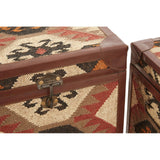 Nui | Set of 2 Kilim Print Side Table Trunks
