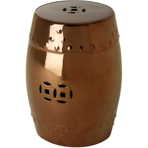 Copper Finish Ceramic Stool