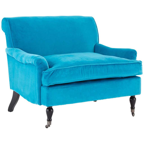 Blue Plush Velvet Anita Large Armchair