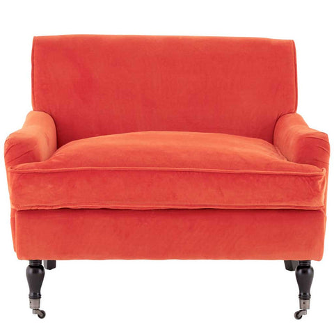 Orange Plush Velvet Anita Large Armchair