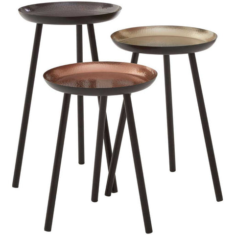 Set of 3 Black and Hammered Effect Side Tables