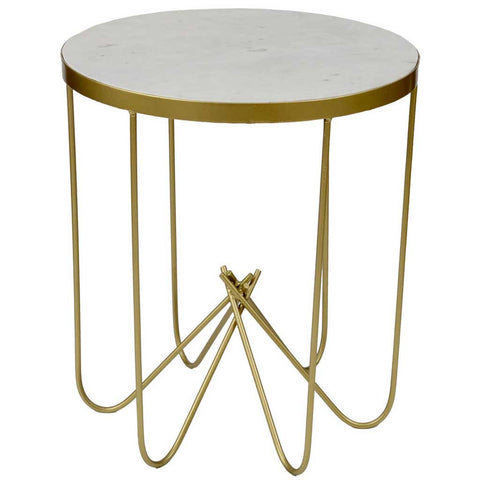 White Marble and Brass Side Table