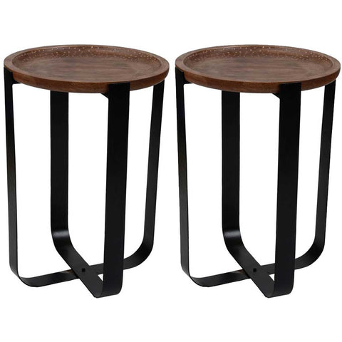 Set of 2 Mango Wood and Iron Side Tables