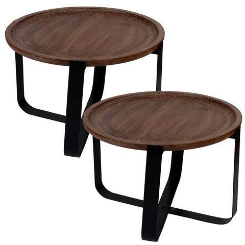 Set of 2 Mango Wood and Iron Low Side Tables