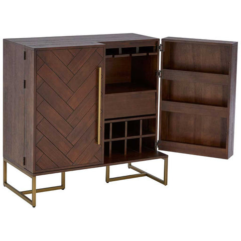 Brando Acacia and Brass Drinks Cabinet
