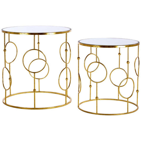 Set of 2 Avantis Mirrored Top Antique Gold Side Tables