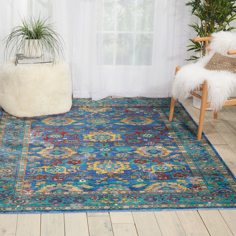 Raja | Accent Rug | Blue and Red | Morrocan