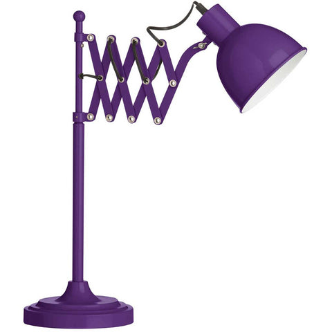 Metal Extendable Table Lamp in Purple