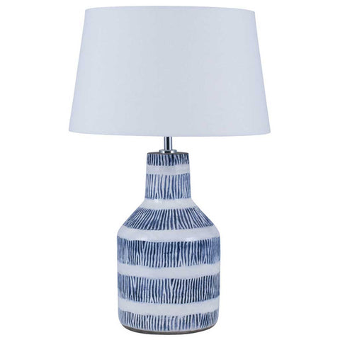 Etched Blue Hand Thrown Stoneware Table Lamp