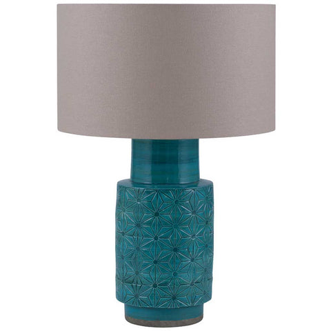 Etched Aquamarine Hand Thrown Stoneware Table Lamp Base