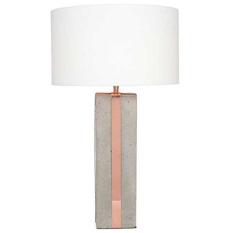 Tall Concrete and Copper Table Lamp