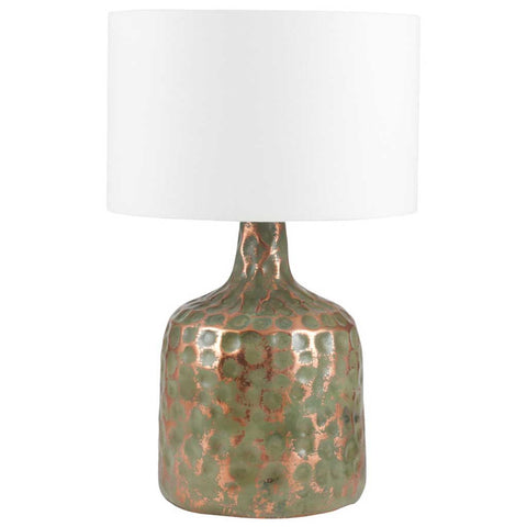 Distressed Green Metal Pot Table Lamp