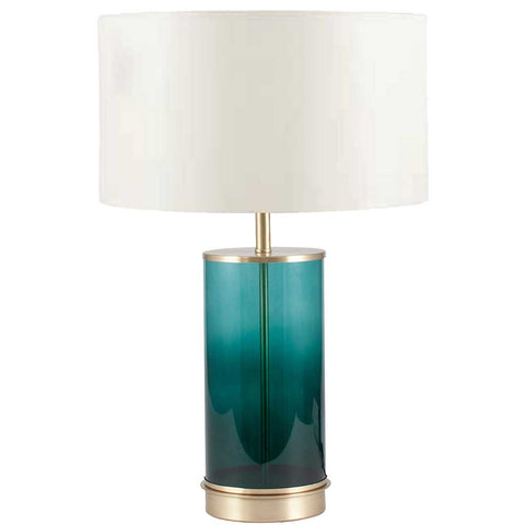 Glass and Metal Cylinder Table Lamp Base in Teal