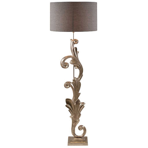 Nickel Scroll Sculptural Handcrafted Floor Lamp