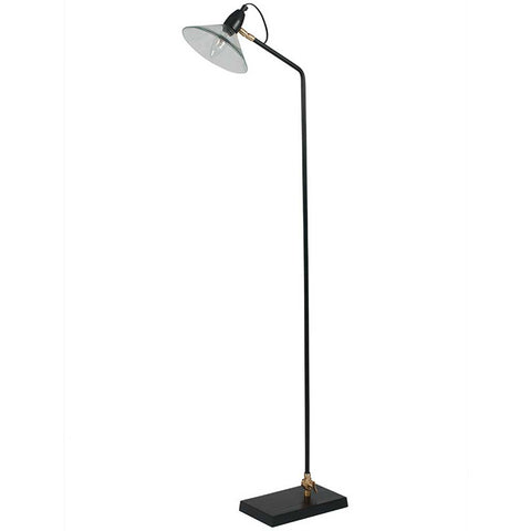 Glass and Metal Black Midcentury Floor Lamp