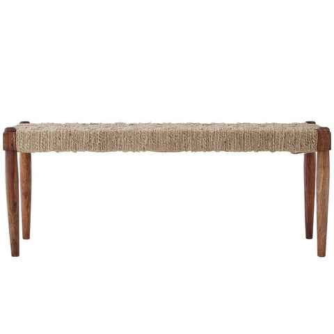 Boho Sheesham Wood and Jute Bench