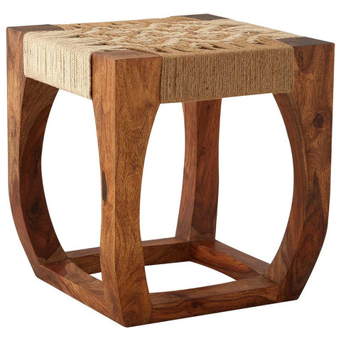 Boho Sheesham Wood and Jute Stool