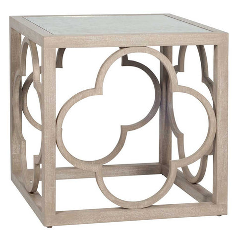 Mango Wood Filigree Side Table with Antique Mirror Top