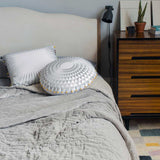 Oyster Hand Stitched Cotton Velvet and Linen Quilted Bed Throw