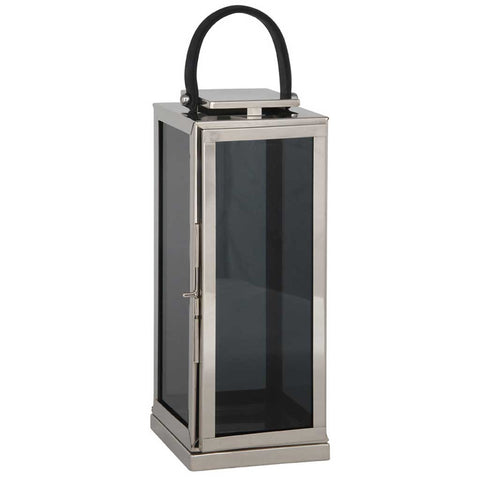 XL Square Nickel and Glass Lantern
