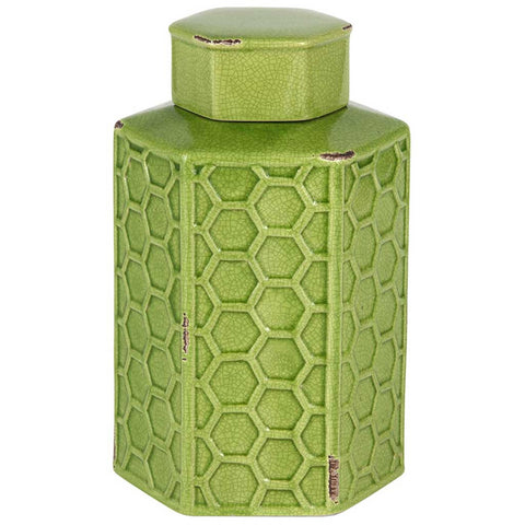 Green Stoneware Hexagonal Jar