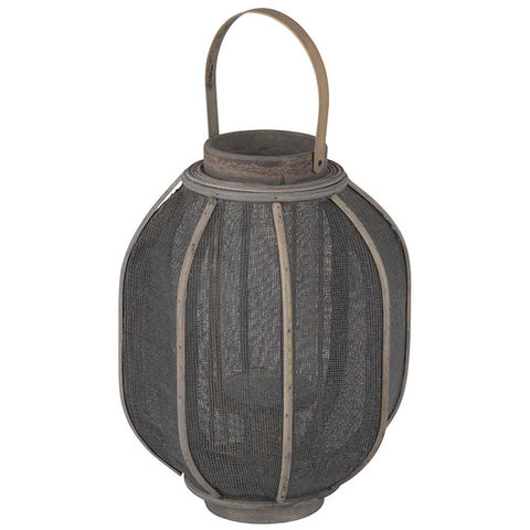 Antique Grey Rattan and Linen Lantern