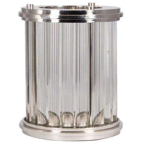 Large Nickel and Glass Art Deco Candle Hurricane