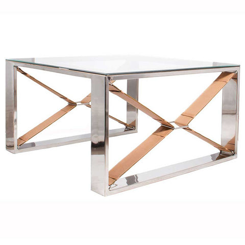 Tan Leather Stainless Steel and Glass Coffee Table