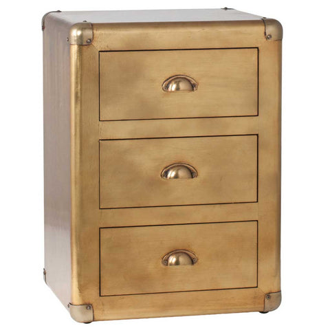 Brass 3 Drawers Bedside Table