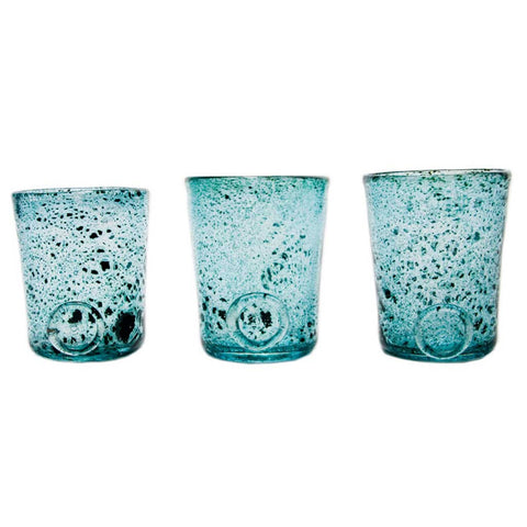 Set of 3 Boho Turquoise Handmade Glasses