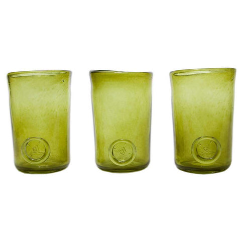 Set of 3 Boho Olive Green Handmade Glasses