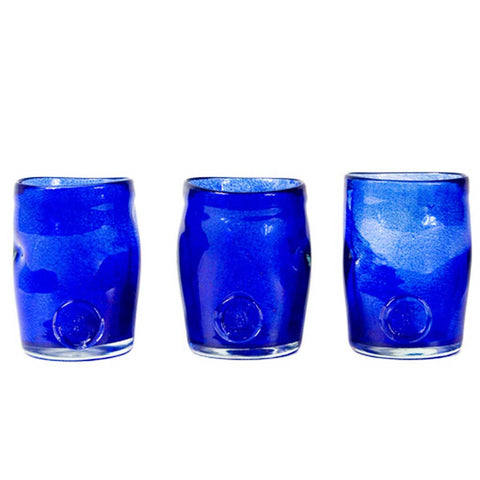 Set of 3 Boho Blue Handmade Glasses
