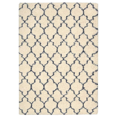 Amore Shaggy Rug in Ivory White and Blue