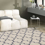 Aegean | Shaggy Rug | Ivory White and Blue | Pattern