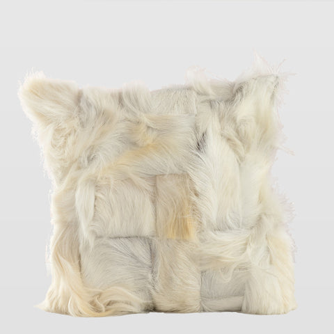 White Goat fur decorative cushion
