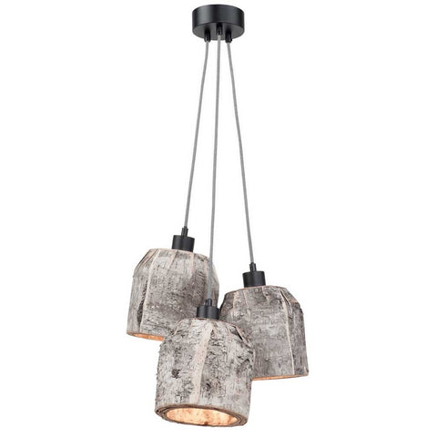Aspen Natural Birch 3 Shades Pendant Light