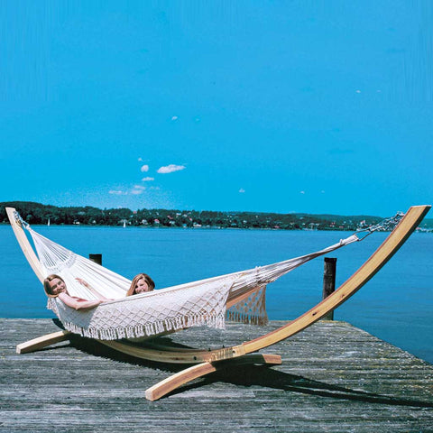 Bohemian XL Rio White Cotton Hand-Woven Hammock
